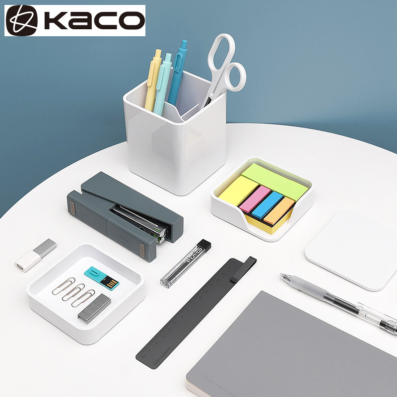 KACOGREEN LEMO Storage 3 IN 1 White Simple Multifunctional Pen Holder Note Storage Box For Office School Stationery Supplies