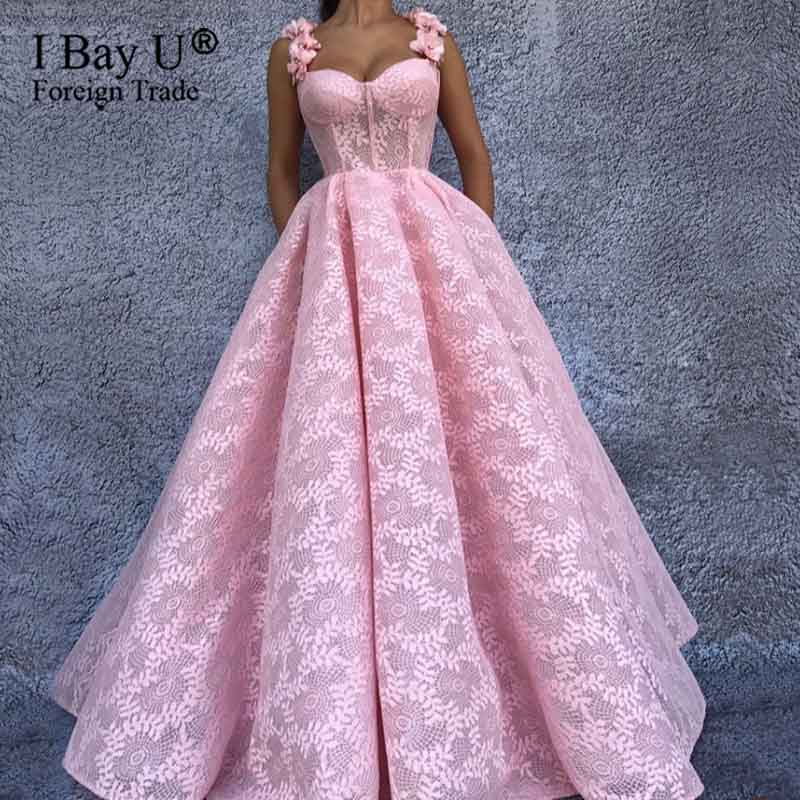 Pretty Pink Evening Dresses With 3D Flower A-line Luxury Full Lace Prom Gowns Elegant Formal Party Dress Abendkleider