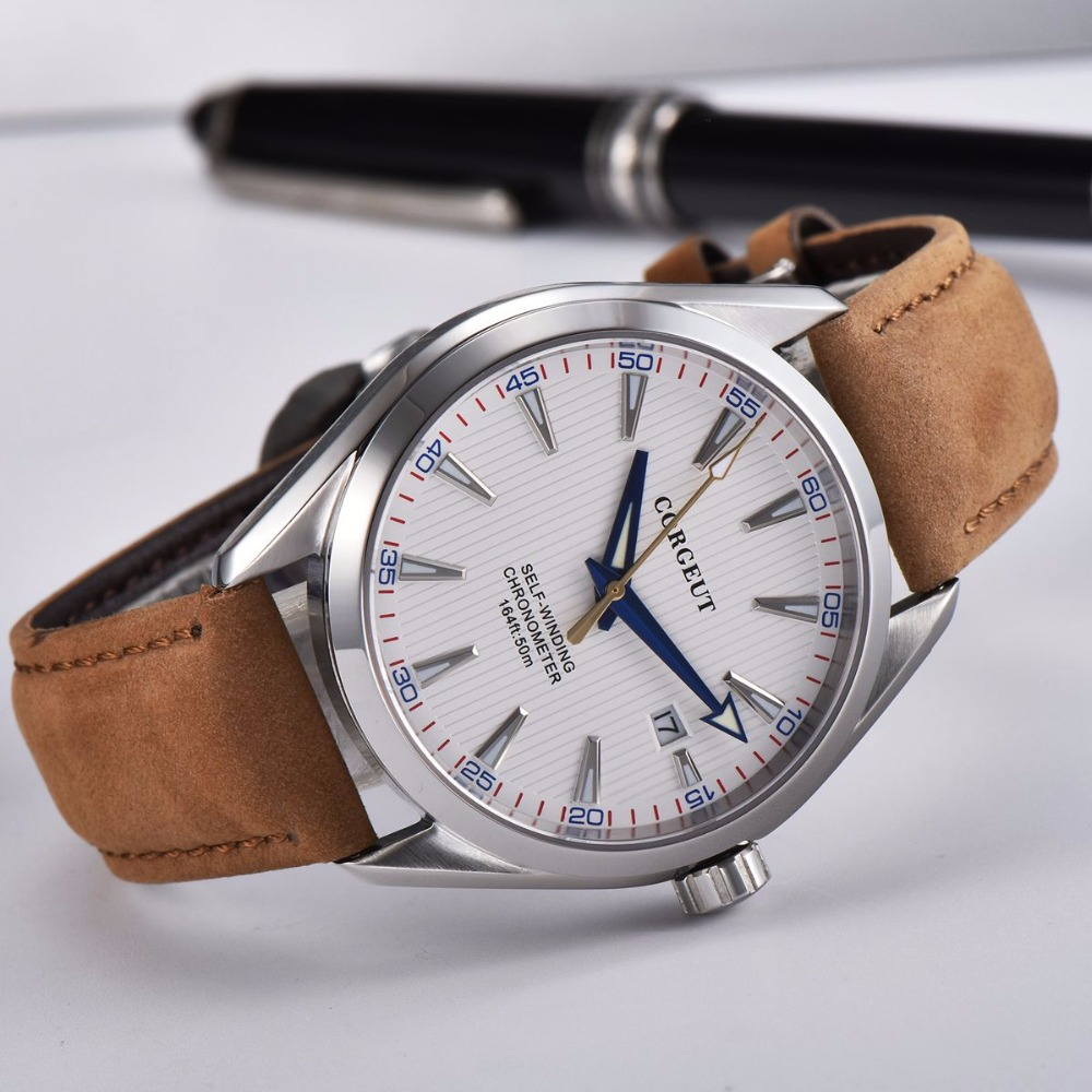 Corgeut 41mm Automatic Mechanical Men Watch Leather Strap Luxury Brand Sapphire Luxury Luminous Waterproof Casual Wristwatch Men