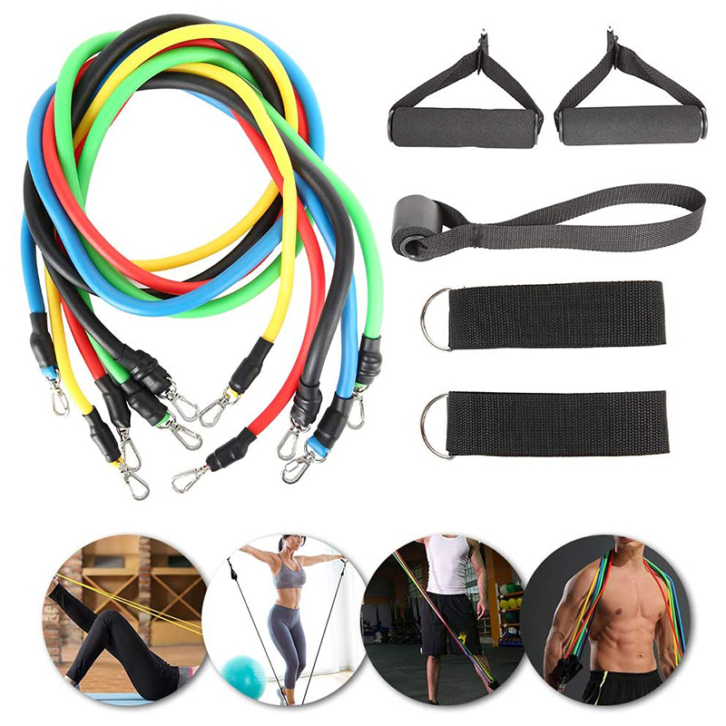 11 Piece Pull Rope Set Fitness Elastic Band Resistance Belt Training Set Pull With Tension Rope Workout Equipment