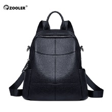 ZOOLER 100% Genuine Leather Fashion Women Backpack Black Style Girl's Schoolbag Large Holiday Knapsack Lady Casual Travel Bag real cowhide backpack 2019 large capacity women backpack 100% genuine leather lady travel bag daily casual knapsack schoolbag female designer backpack bolsas