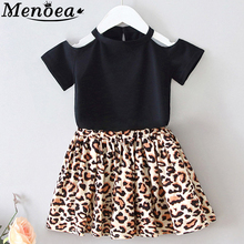 Menoea Girls Dress 2020 Girl Clothes European And American Style Children Leopard Print Strapless Dress Printed Kids Dresses 2017 brand new girl dress winter kids clothes european and american style leaf pettern design for girls clothes 3 8y