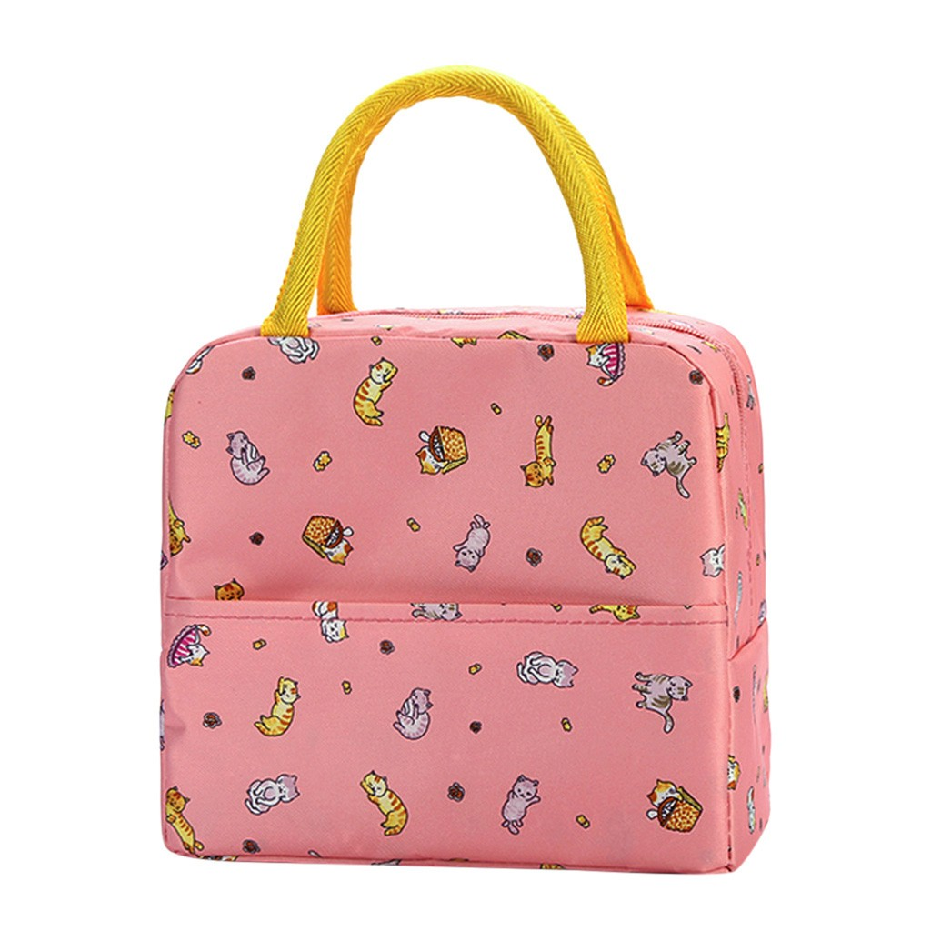 Pattern Waterproof Oxford Tote Lunch Bag Large Capacity Thermal Food Picnic Lunch Bags For Women Kid Men Cooler Lunch Box