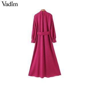 Image 2 - Vadim נשים שיק פולקה נקודות שמלה ארוכה ארוך שרוול עניבת פרפר אבנט נקבה משרד ללבוש אופנתי שיק שמלות vestidos QD132