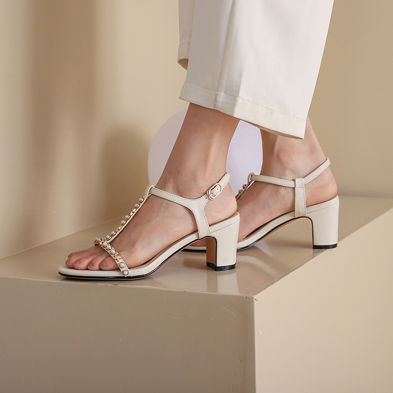 Genuine Leather T-Strap Casual Buckle Strap women sandals high heels sandals women...