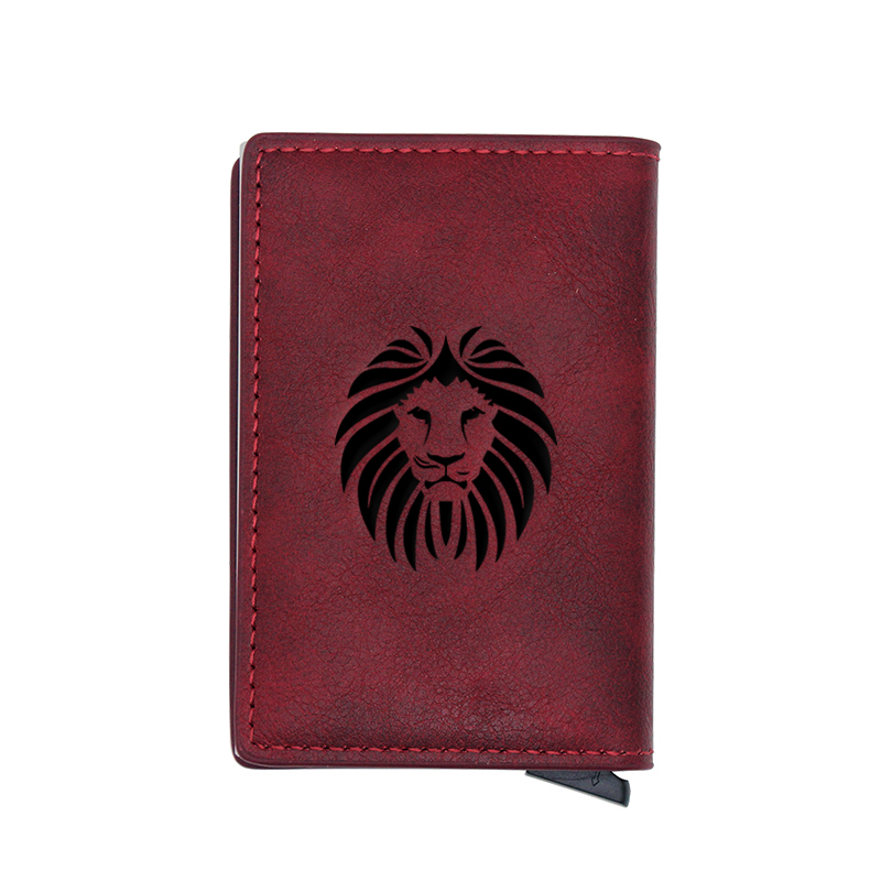 Cool Black Lion Head Design Card Holder Wallets Men Women Rfid Leather Short Purse Slim Mini Wallet Small Money Bag