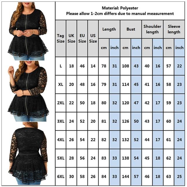 6XL Plus Size Lace Patchwork Blouse Women Spring Loong Sleeve Shirts Hollow Out Laides Tops Elegant Slim Blouses Blusas D30 5