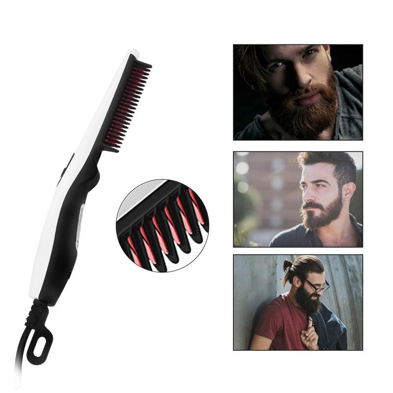 Electric Beard Straightener Hairbrush Iron Comb Salon Hair Styling Tools Straightening Beard Comb Brush Hair Styler For Men