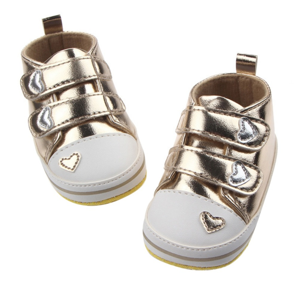 Newborn Baby Girls Classic Heart-shaped PU Leather shoes First Walkers Tennis Lace-Up