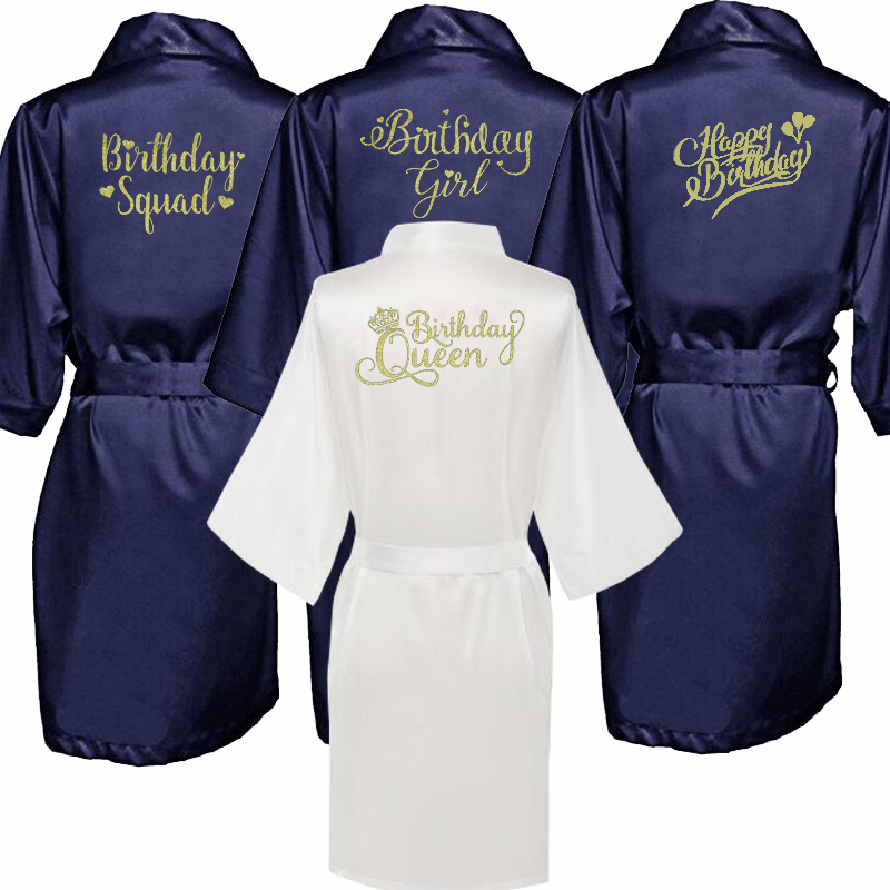 Birthday Queen Girl Kimono Robe Bathrobe Women Silk Birthday Robes Sexy Navy Blue Robes Satin Robe Ladies Dressing Gowns