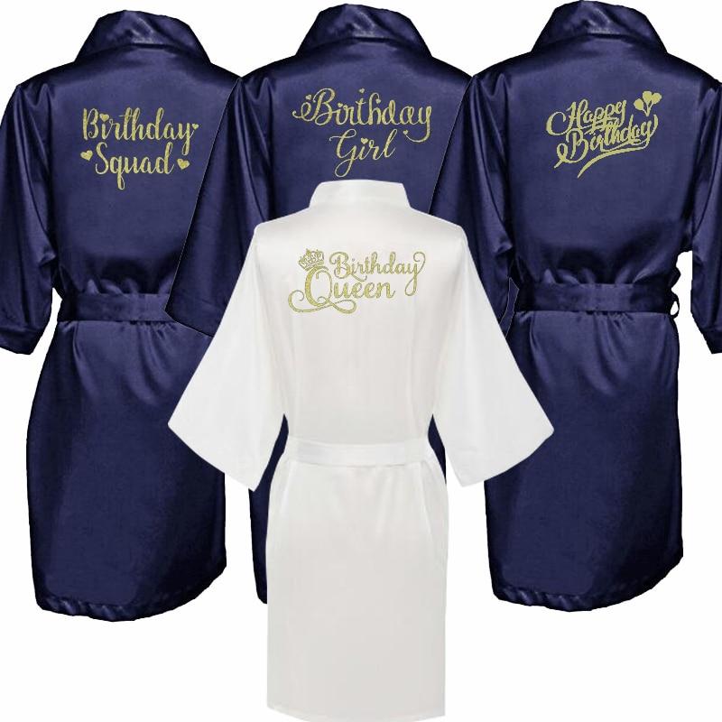 Birthday Queen Girl Kimono Robe Bathrobe Women Silk Birthday Robes Sexy Navy Blue Robes Satin Robe Ladies Dressing Gowns