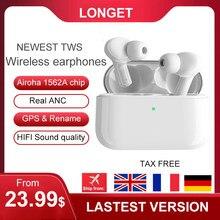 Longet mais novo tws fones de ouvido sem fio in-ear gps localização renomear fones de ouvido estéreo pk i90000 i12
