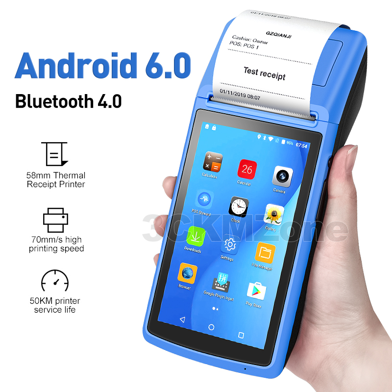 Bluetooth Printer Terminal Receipt WIFI Handheld POS Android-6.0 58mm PDA 3G NFC title=