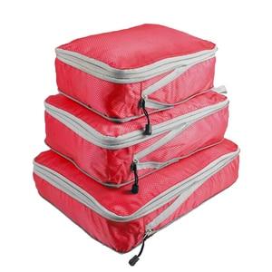 Image 5 - Rantion 3pcs/set Compression Packing Cubes Travel Storage Bag Luggage Suitcase Organizer Set Foldable Waterproof Nylon Material