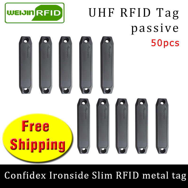 UHF RFID Anti-metal Tag Confidex Ironside Slim 915m 868m Impinj Monza4QT 50pcs Free Shipping Durable ABS Smart Passive RFID Tags