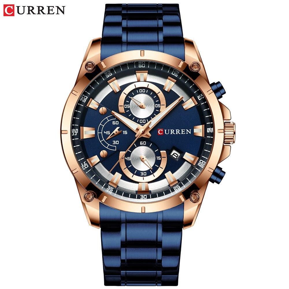 CURREN kreatywny Design zegarki mężczyźni luksusowy zegarek kwarcowy z chronograf ze stali nierdzewnej Sport zegarek męski zegar Relojes 2