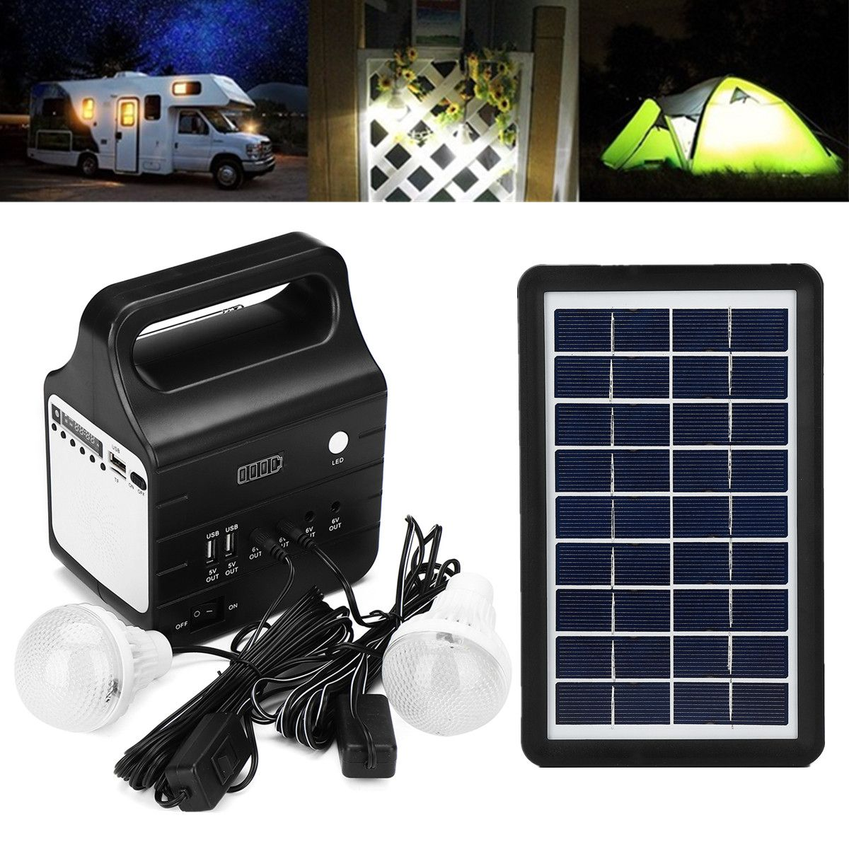 25W Solar Generator FM Support Stereo Speaker Multi-functional Generators With Solar Power Panel 2xLED Bulb Solar-charging