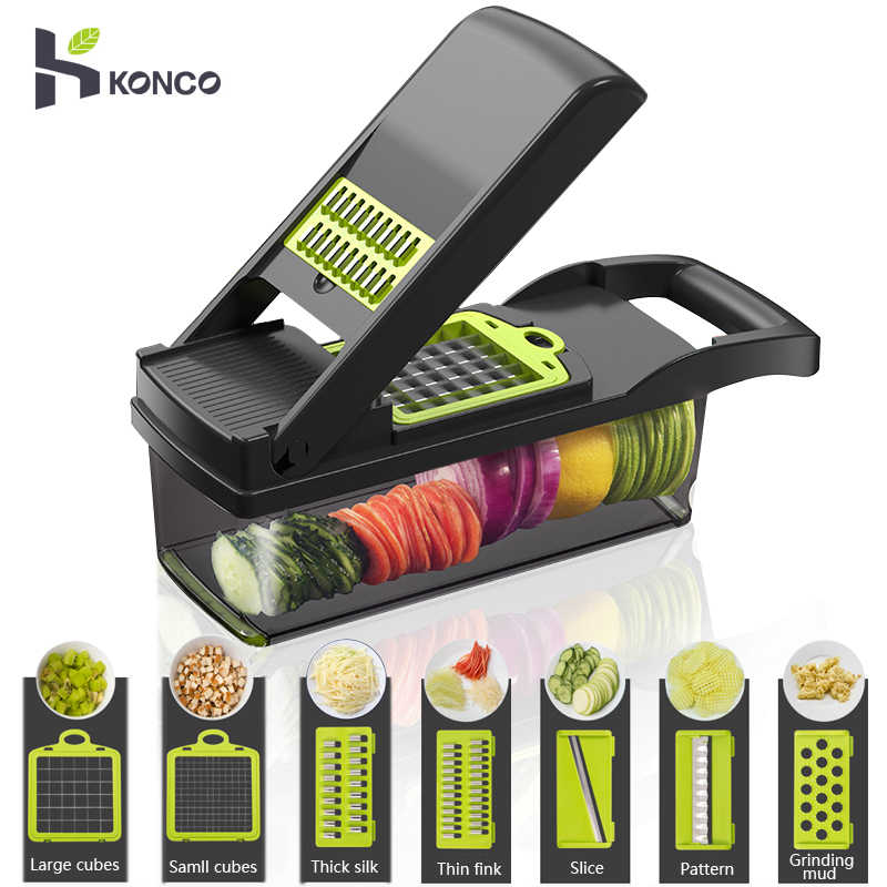 Konco Multi-functional Vegetable Fruits Tool Potato Masher ricer Vegetable Mandoline slicer Peeler Cutter Carrot Shredder Grater