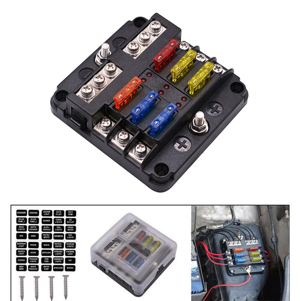 6-Way Fuse Box Blade Fuse Block Holder Screw Nut Terminal W//Negative Bus 5A 10A 15A 20A Free Fuses LED Indicator Waterpoof Cover for Automotive Car Marine Boat