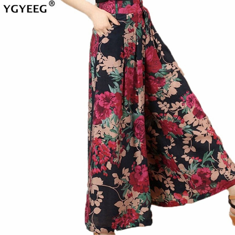 YGYEEG New Feminina Summer Wide Leg Pant Flower Pant Broeken Woman Linen Female Capris Pattern Skirt Trousers Women Culottes