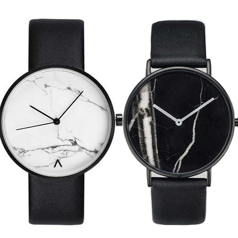 Fashionable contracted marble horse watch male lady student lover leisure belt watch quartz watch gift