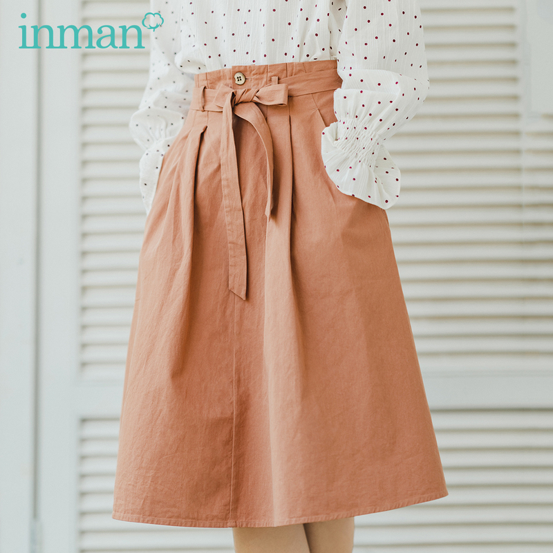 INMAN 2020 Spring New Arrival Retro Style A Line Pleated Elastic High Waist Women Skirt