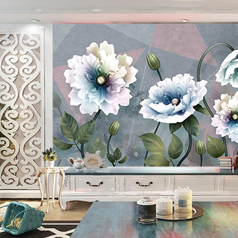 2020 Fashion 3d Stereo Living Rroom Sofa TV Background Wall Paper Bedroom Non Woven Wallpaper Large Flower Murals carta da parat