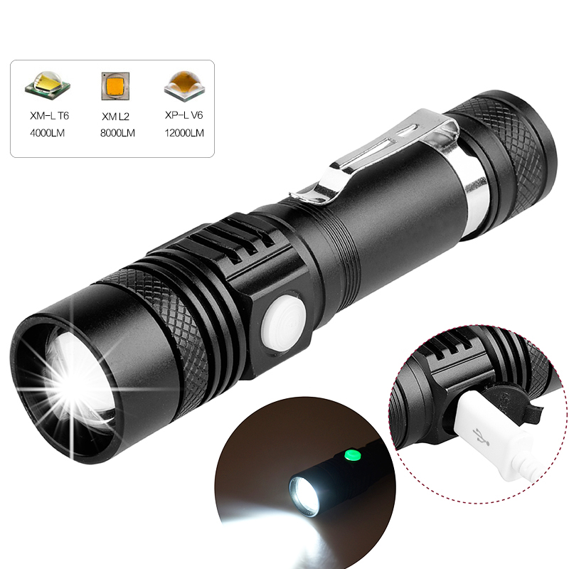 6200LM Super Bright Led Flashlight USB Linterna Led Torch T6/L2/V6 Power Tips Zoomable Bicycle Light 18650 Rechargeable