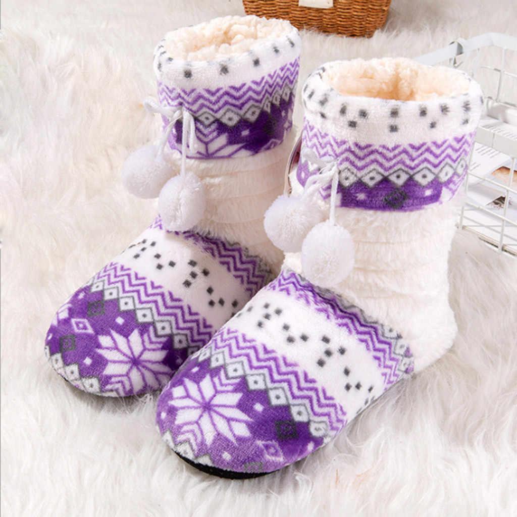 Noel Çorap Çizmeler Kadınlar Için 2019 Peluş Top Süet Tek Kış sıcak Ev Botları Bayan Ayakkabıları