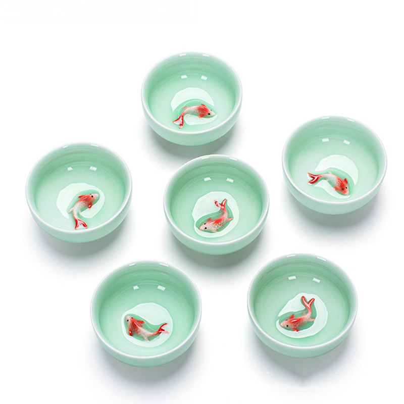Chinese Tea Cups Porcelain Celadon Fish Teacup Set Loose Leaf Teapot Drinkware Oolong Tea Ceramic China Kung Fu Tea Sets