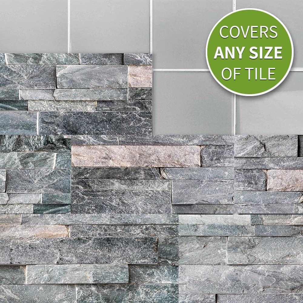 9Pcs דרק גריי אבן לבני קיר מדבקת דבק עמיד למים PVC רצפת מדבקות מודרני מטבח עיצוב חדר שינה חדר אמבטיה