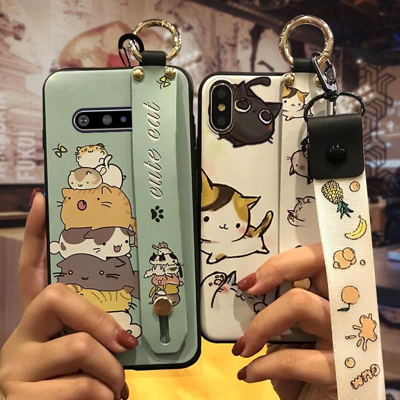 Wrist Strap Durable Phone Case For LG V60 Thinq 5G Wristband Soft Case Anti-Knock Original Cartoon