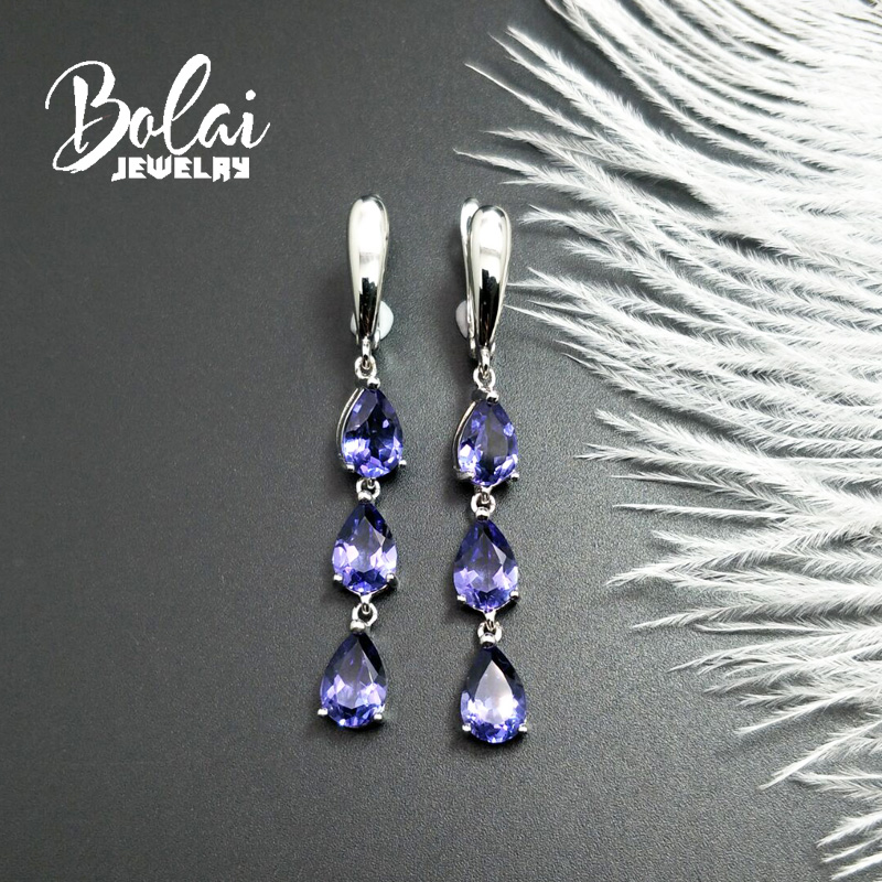 Bolaijewelry,925 sliver earring Nano Tanzania pear 6*9mm, created elegant design fine jewelry for woman daily wear
