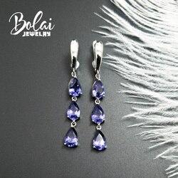 Bolaijewelry, 925 splitter ohrring Nano Tansania birne 6*9mm, erstellt elegante design edlen schmuck für frau täglichen verschleiß