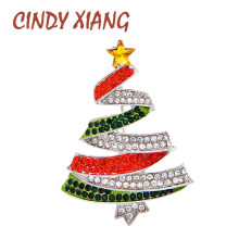 CINDY XIANG Red And Green Rhinestone Christmas Tree Brooch Winter Design Festival Brooches Unisex Party Accessories High Quality