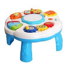Детский Музыкальный обучающий стол, многофункциональный игровой стол для детей ясельного возраста, красочный светильник, развивающая игрушка для детей раннего возраста