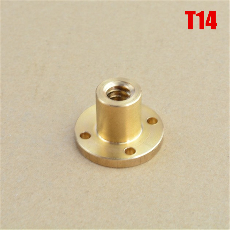 1pcs T14 Screw Lead Brass Nut TR14 Flange T-type Trapezoidal Nut Pitch 3mm