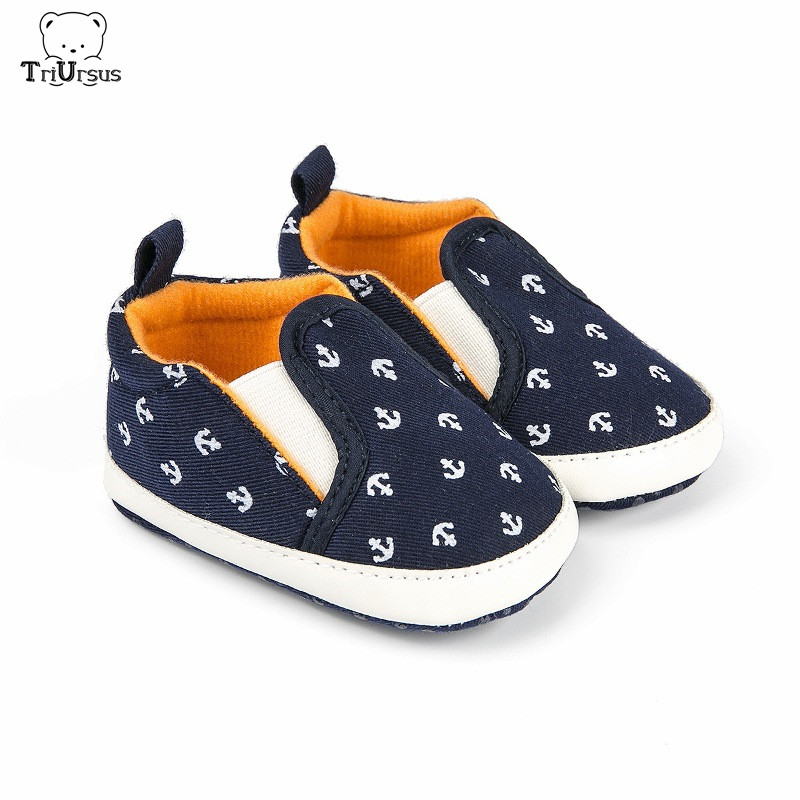 Infant Baby Girl Walking Shoes Boat Anchor Baby Boy Designer Shoes Anti Slip Sole Navy Blue Moccasins Baby Girl First Walkers