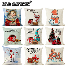 Christmas present snowman winter cardboard pillow cushion for merry happy new year decoration on couch
