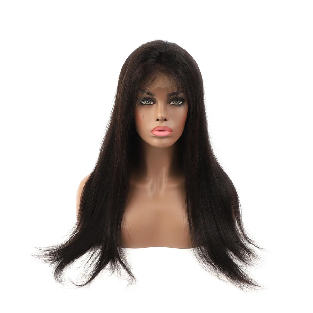 K.S WIGS 14''-22'' Straight Natural Black Lace Front Wig Pre-Plucked Hairline With Baby Hair 150% Density Remy Hair Wig