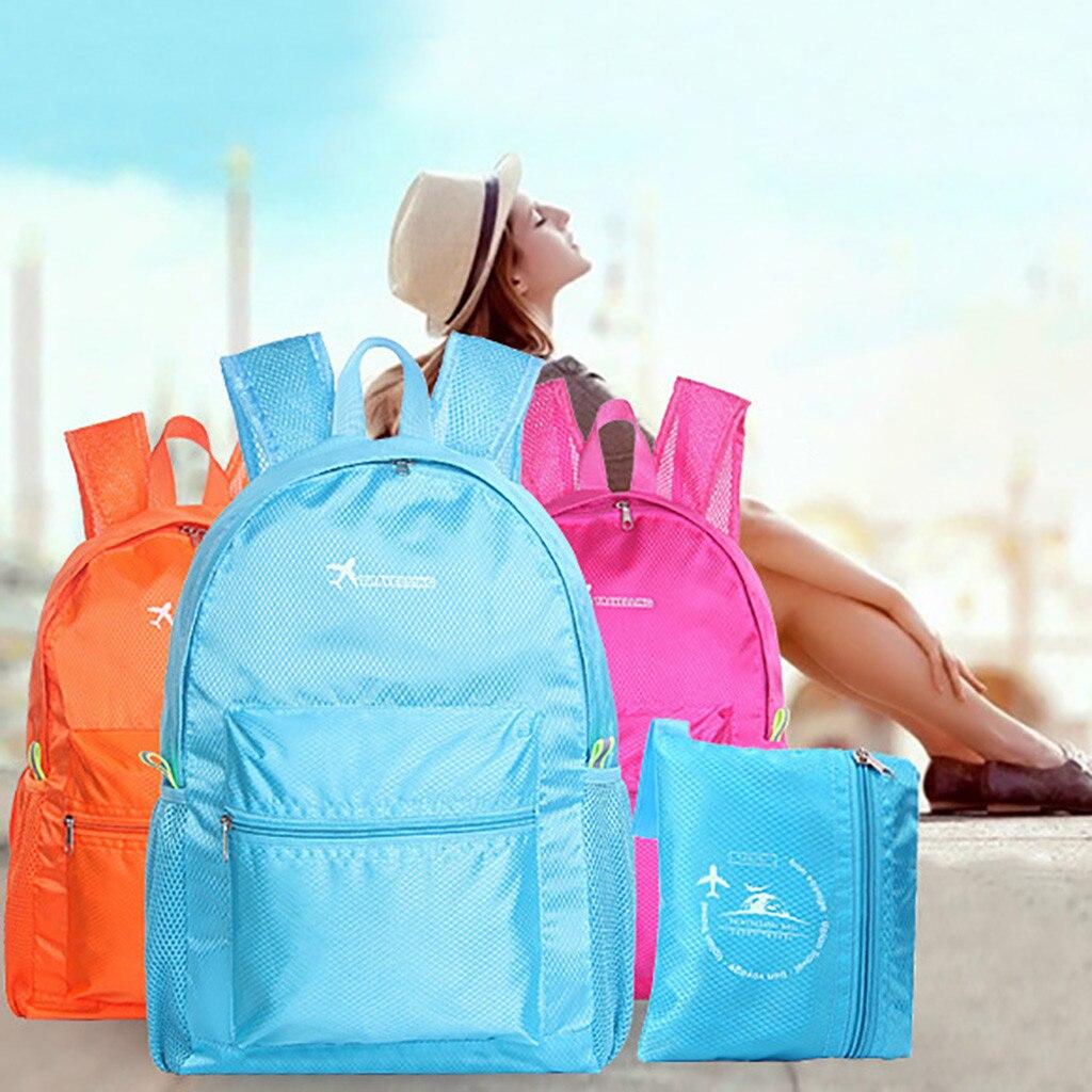 2019 New Solid Color Backpack Mochila Feminina Wear Light Sports Outdoor Back Pack Sac A Dos Light Simple Fold Bagpack Plecak#C8