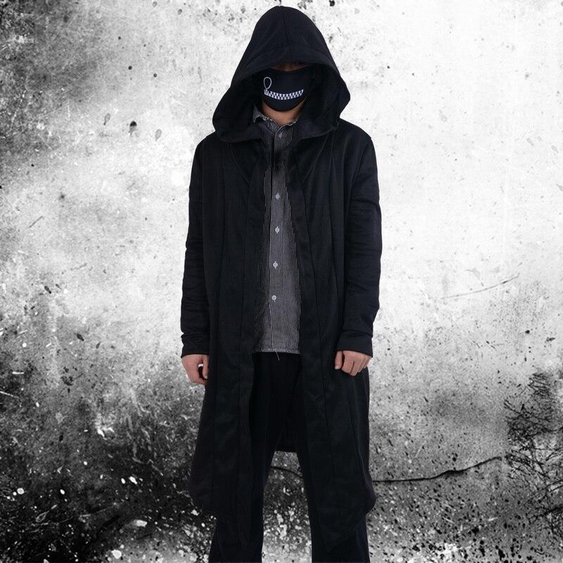 2020 Black Men Hooded Sweatshirts Hip Hop Mantle Long Hoodies Cardigan Fashion long Sleeves Cloak Jackets Coats Outwear Hip Hop