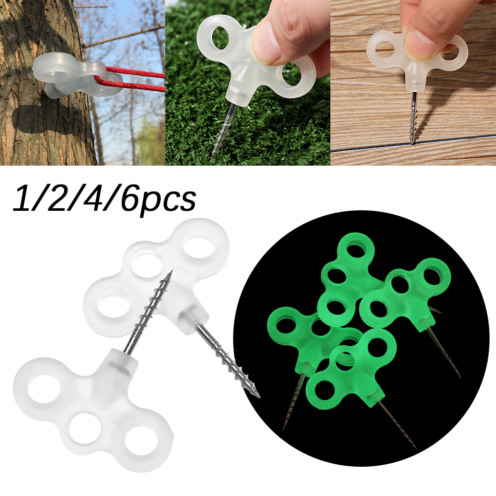 Wind Rope Buckles Tent Accessories Luminous Ground Screws 3eyes Screw Nails