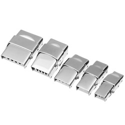 LOULEUR 5pcs/lot 6Sizes Stainless Steel Flat Leather Cord Clasps for Bracelet Metal End Clasps Necklace Connector Jewelry Making