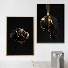 Black And Golden Flower Skull Canvas Painting On Wall Art Poster Prints Abstract Modern Decor Picture For Living Room