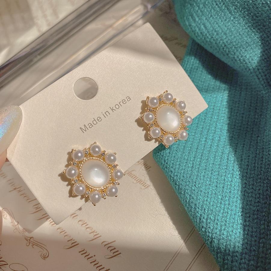 Корейские серьги 2021, модные ювелирные изделия, новый дизайн, позолоченные очаровательные серьги Стразы с кристаллами и жемчугом для женщин ...