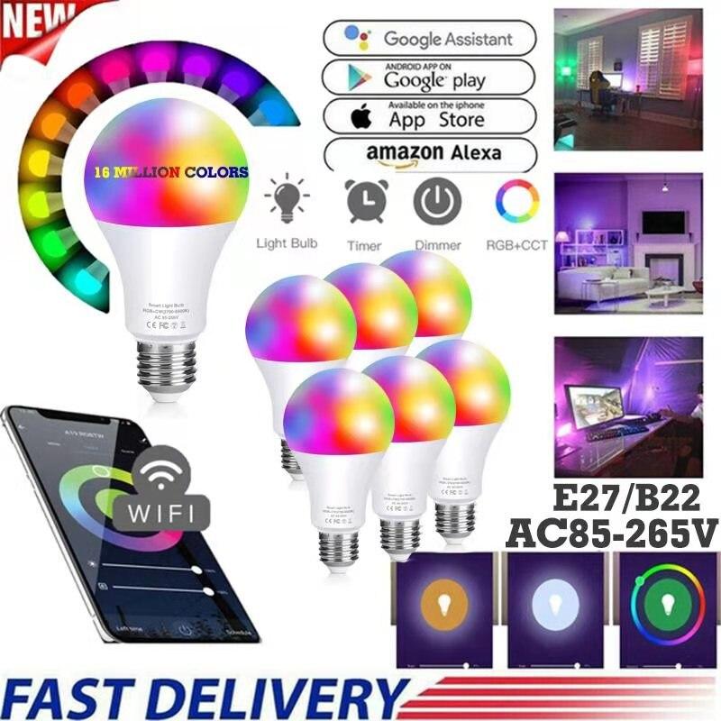 Умная Светодиодная лампа с Wi-Fi, 10/15 Вт, E27, B22, инфракрасная лампа с дистанционным управлением или управлением через приложение, с регулируемо...