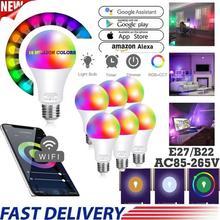 10w/15w wi fi inteligente lâmpada led e27 b22 infravermelho controle remoto ou app tuya controle pode ser escurecido alexa google casa ios android