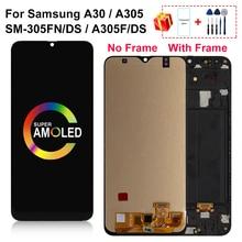 """6.4 """"AMOLED לסמסונג גלקסי A30 LCD A305/DS A305F A305FD SM A305FN/DS תצוגת מסך מגע Digitizer עבור A305A עצרת חלק"""