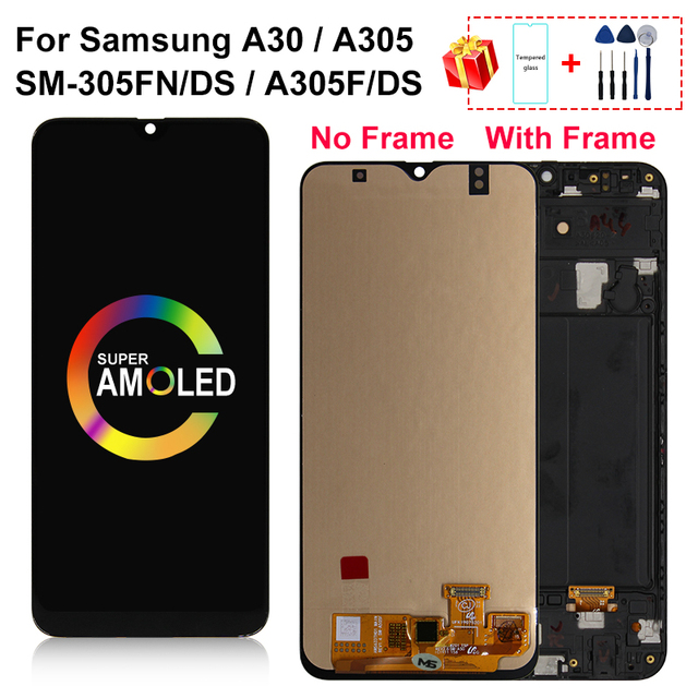 """6.4"""" AMOLED For Samsung galaxy A30 LCD A305/DS A305F A305FD SM A305FN/DS Display Touch Screen Digitizer For A305A Assembly Part"""